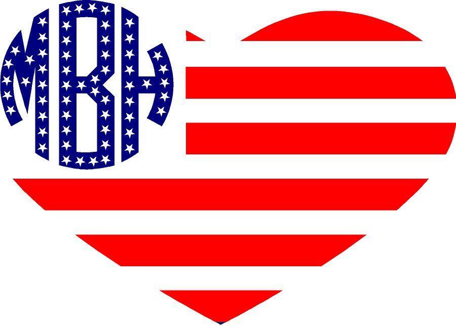 Heart American Flag Monogram Patriotic Monogram Vinyl American - Vinyl custom decals