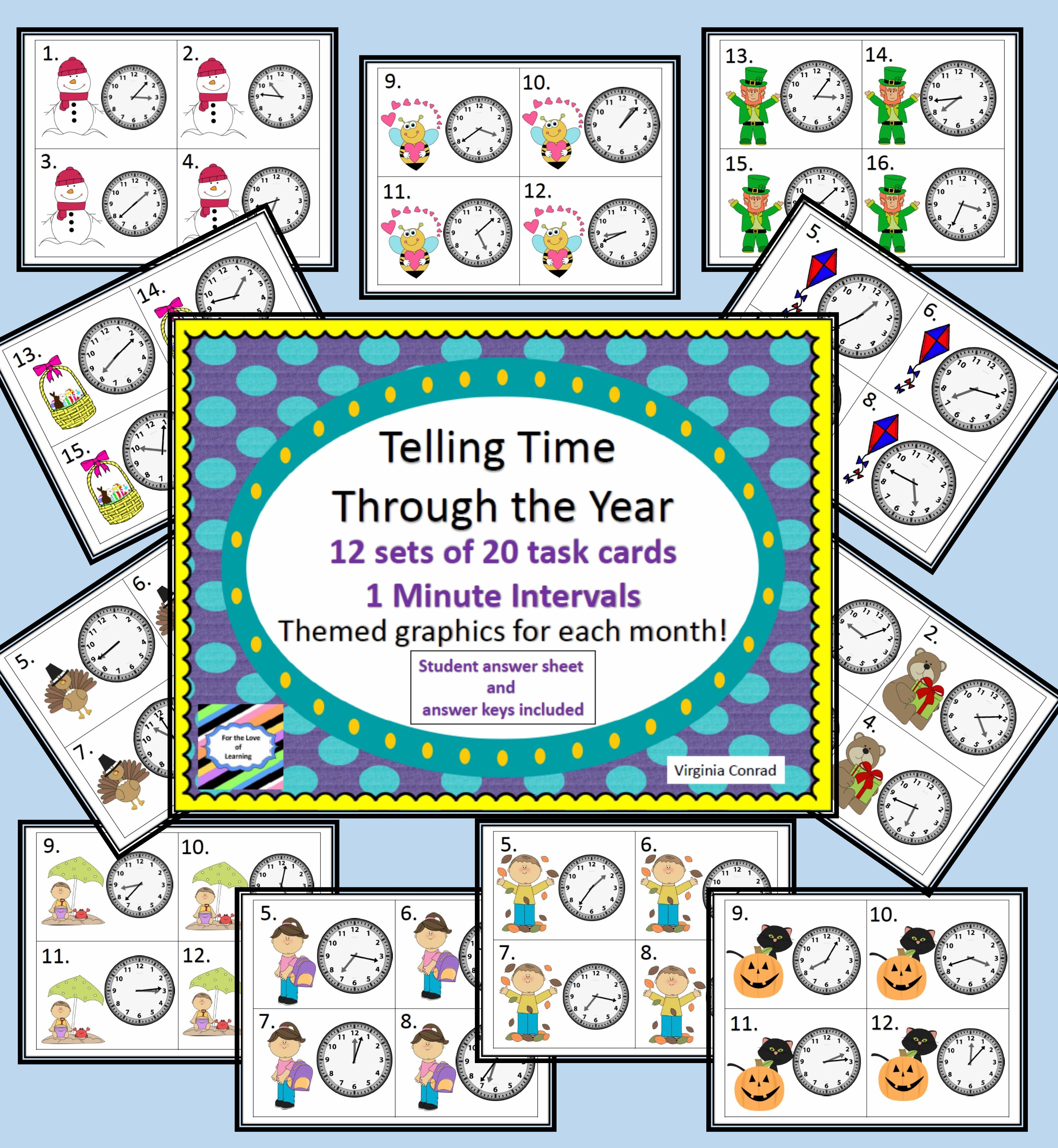 Telling Time Through The Year 1 Minute Intervals 12