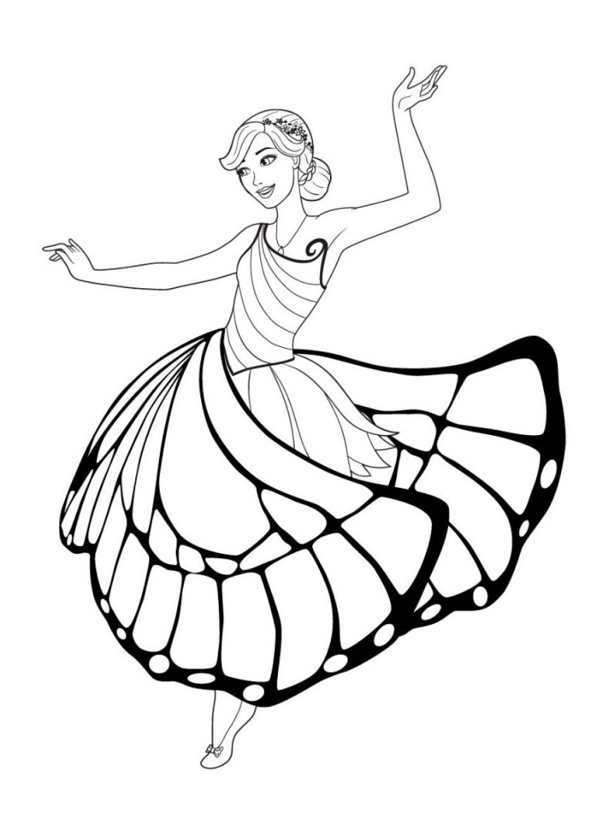 Barbie Spinning In The Dance Animal Coloring Pages Princess