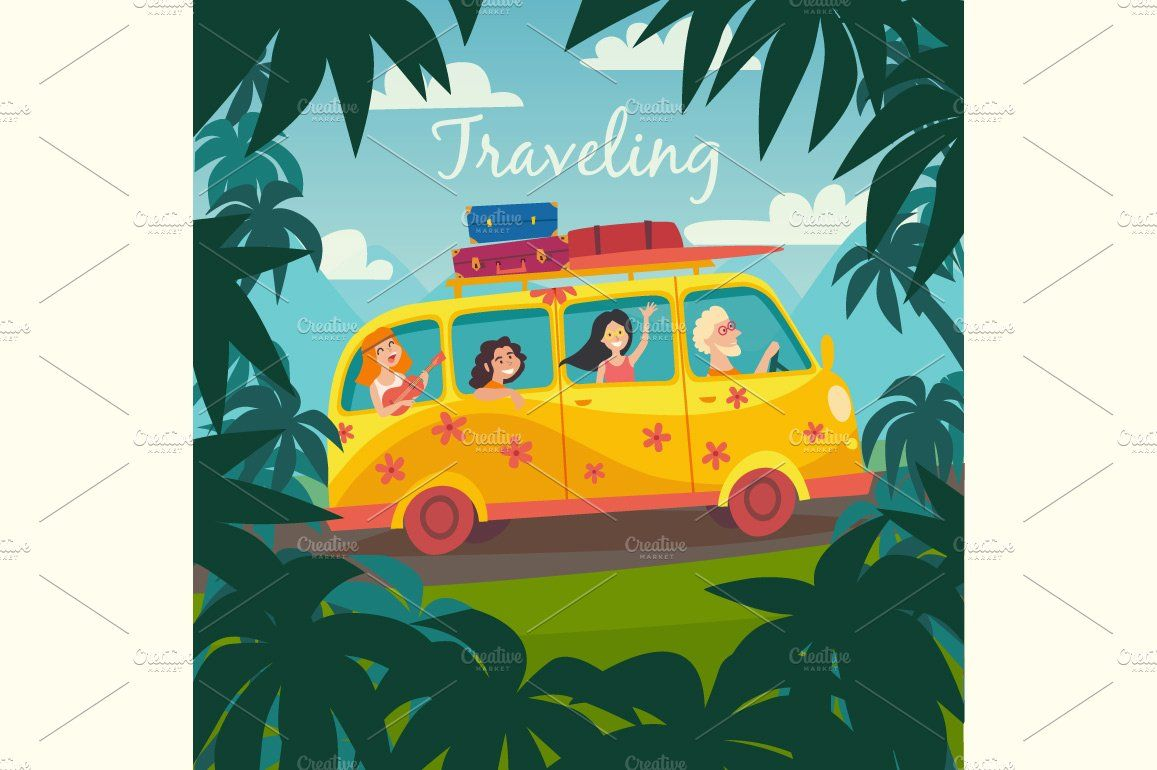 Summer Trip By Bus Illustration Girls Trip Quotes Summer Travel Trip