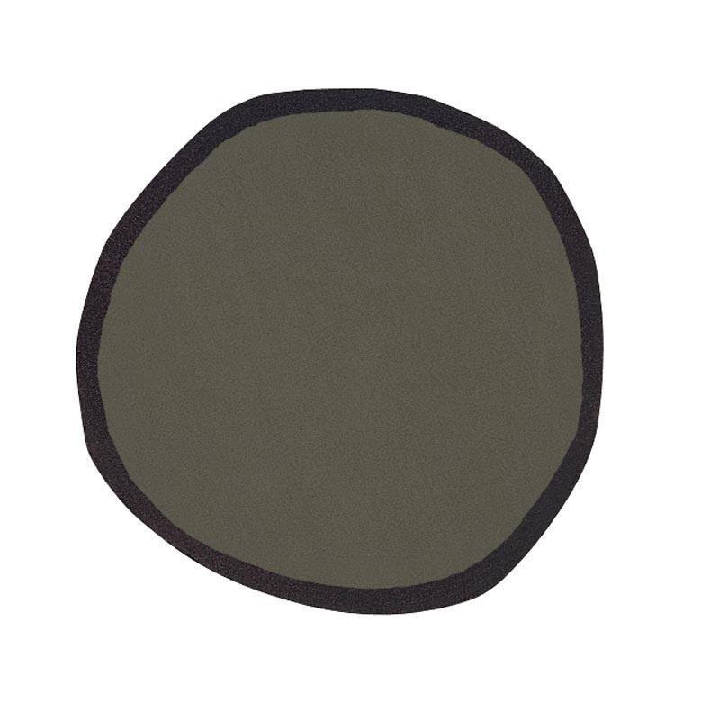 Nanimarquina - Aros - Tapijt Nieuw-Zeelandse Wol over - khaki zwart/nieuw-zeelandse wol/hand tufted/Ø200cm