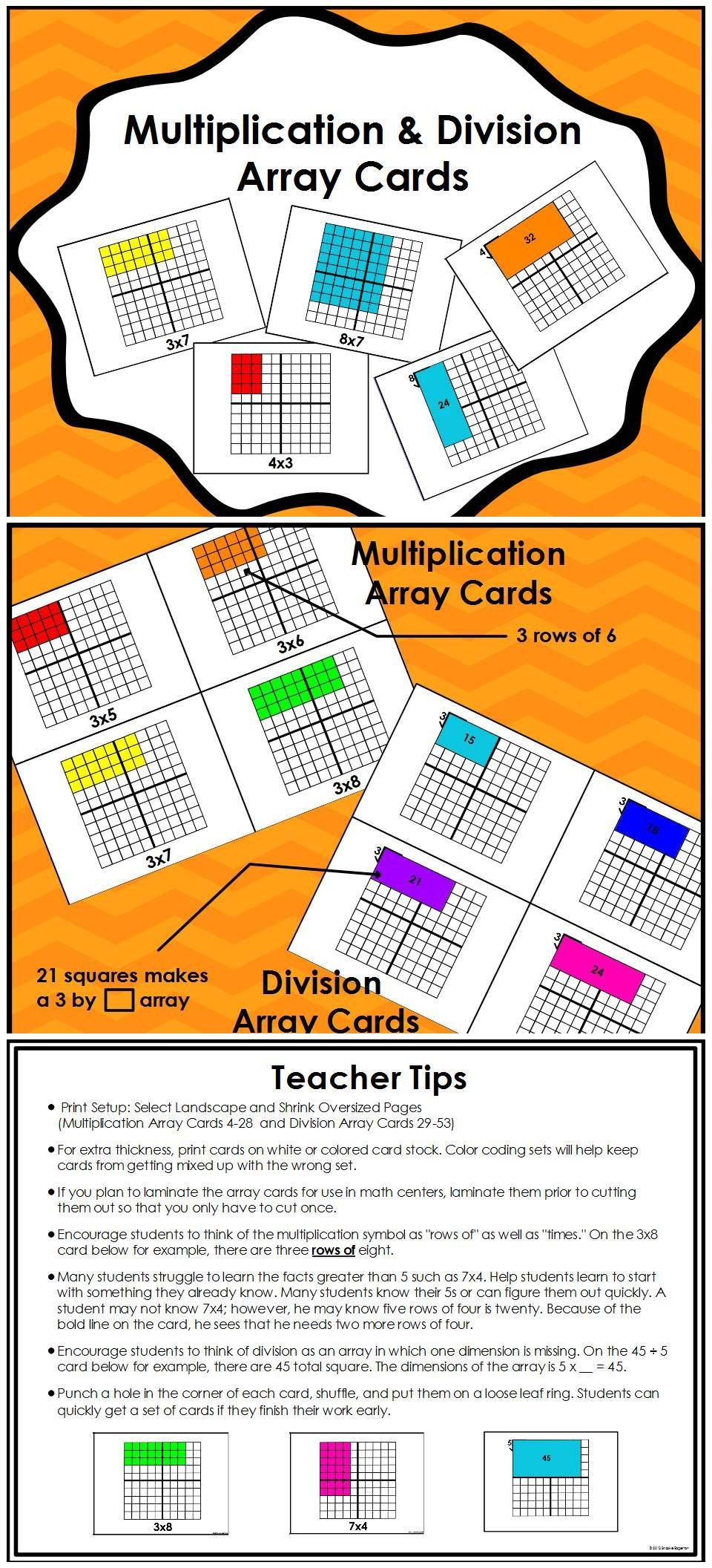 Multiplication and division arrays visual learning multiplication array cards division array cards these cards help students make connections between the nvjuhfo Choice Image