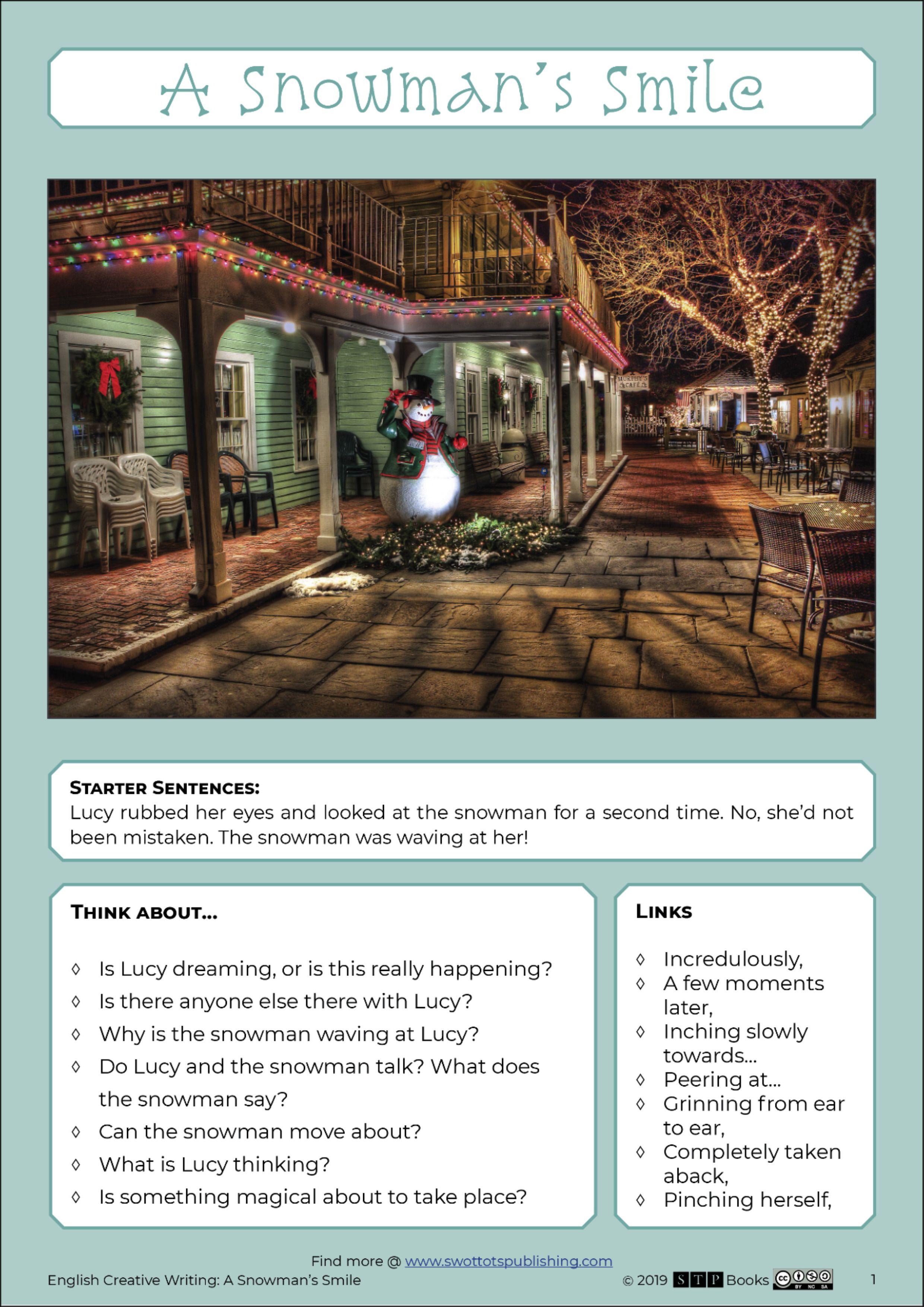 Free Printable English Descriptive Creative Writing Story