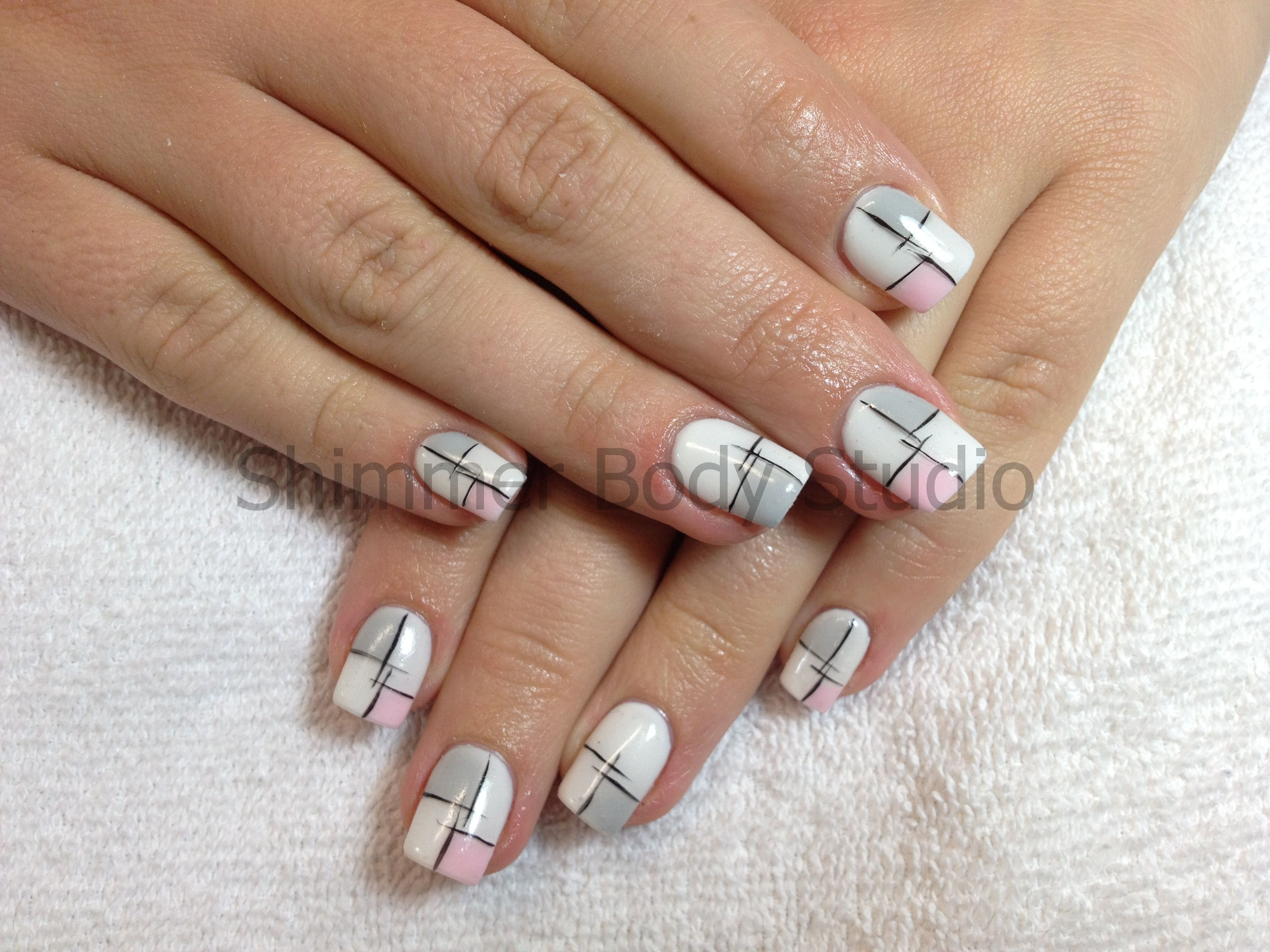 Gel Nails White Nails Hand Painted Nail Art Geometric Design Pastel Pink And Grey By Shimmer Body Studio Grey Nail Designs Painted Nail Art Nail Art