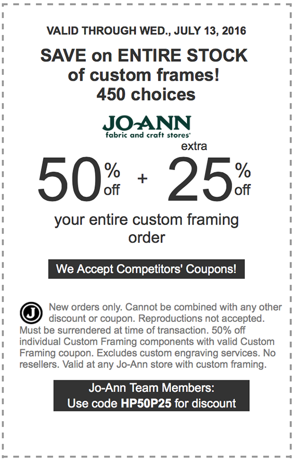 Jo-Ann Fabric #Coupons • 50% off + extra 25% off entire custom ...
