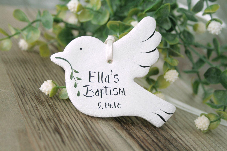 set of 6 personalised doves salt dough christening baptism. Black Bedroom Furniture Sets. Home Design Ideas