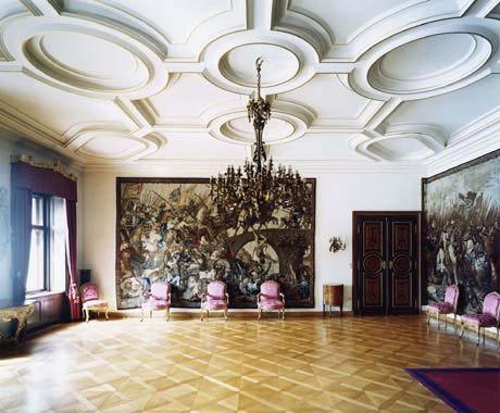 Purple chairs.  Candida Höfer / Schloss St. Emmeram Regensburg VIII 2003 / C-print, ed. of 6 61 x 71 inches