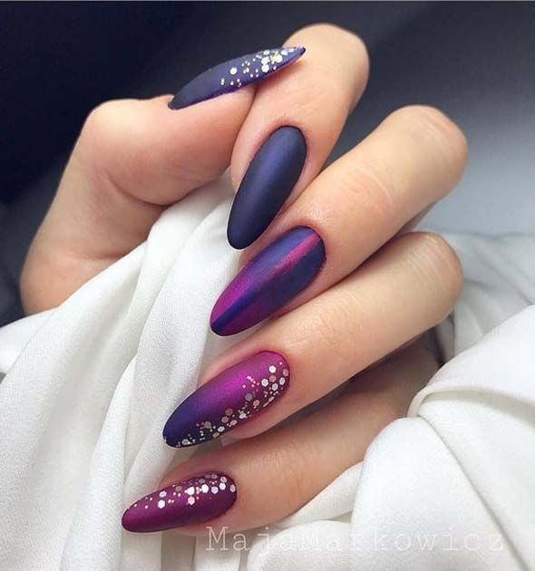 Winter Nail Art Designs Feature Typically Dark Colors Mauve Nails Nail Art Ombre Almond Acrylic Nails