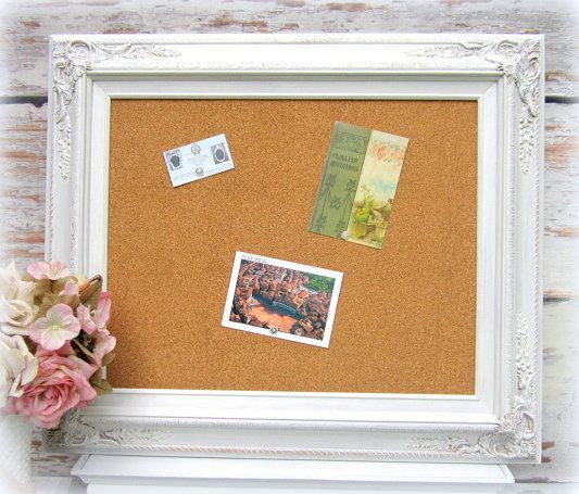 FRAME CORKBOARD DECORATIVE Memo Board White Shabby Chic
