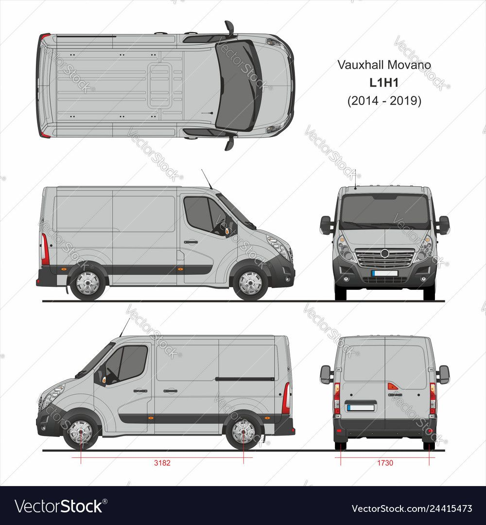 Vauxhall Movano Cargo Delivery Van L1h1 2014 2019 Vector Image On