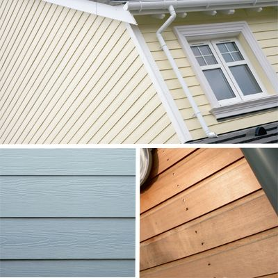ABOVE: Top: Marley Eternit's Cedral Weatherboard is a fibre-cement board that looks like timber but has none of its maintenance. Bottom Left: Engineered cement composite boarding from James Hardie. Bottom Right: Western redcedar cladding from John Brash will weather to a silvergrey over time
