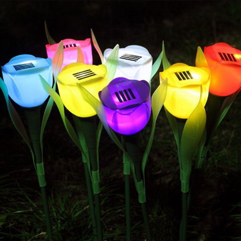 Odkryty Yard Ogrod Solar Power Led Lampa Romans Tulipan Kwiat Ksztalt Swiatla Dekoracji Swiatla Trawnik Clh 8 Garden Lamps Solar Led Lights Solar Led Lights Outdoor