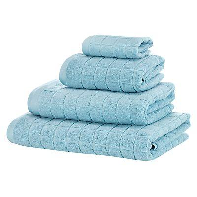 Buy John Lewis Textured Square Towels, Aqua online at JohnLewis.com - John Lewis