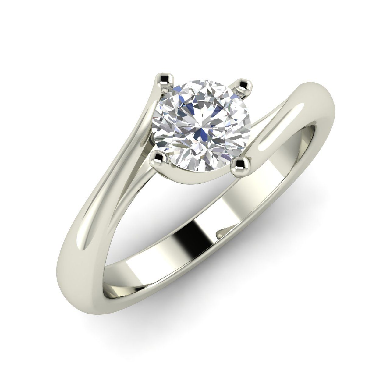 57 Ct Natural White Sapphire Solitaire Engagement Ring In Solid 14k White  Gold  Genuine