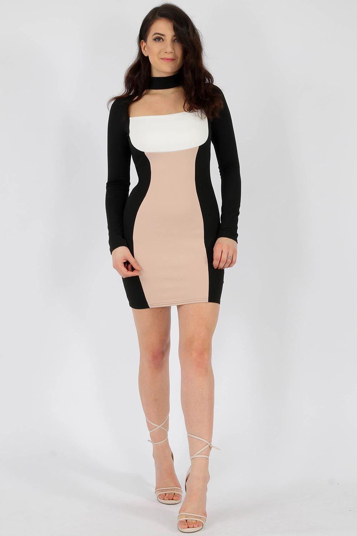 42593cc6c56 Colour Block Choker Bodycon Dress - Clothing Wholesalers - Missi London UK