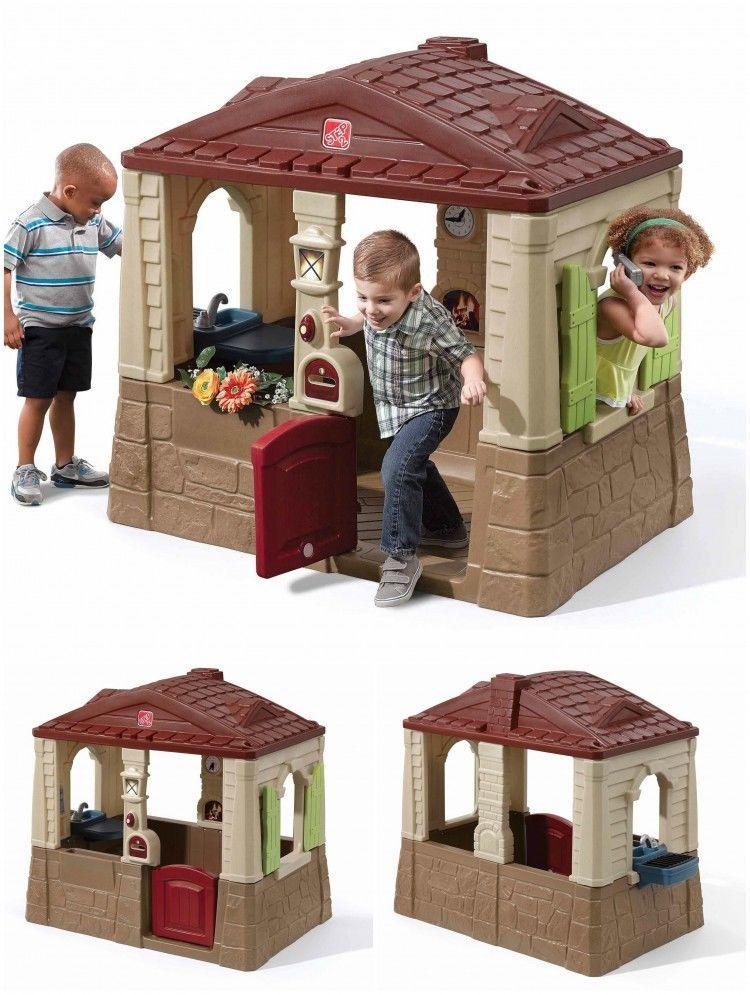 Playhouse Cottage Plastic Outdoor Backyard Kids Children Pretend Play Fun House Outdoorplayhousecollection