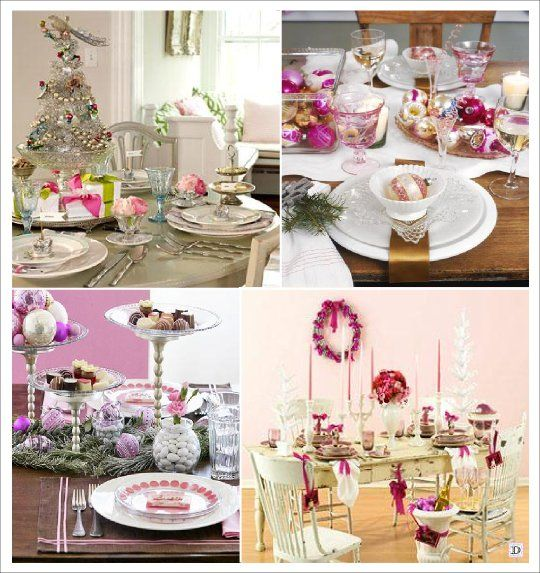 Decoration table noel vintage rose or no l repas for Exemple de table de noel