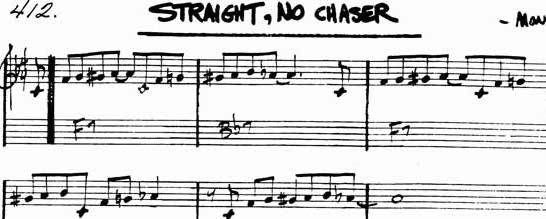 STRAIGHT, NO CHASER for jazz guitar (Bb and F)   d squared 4ever