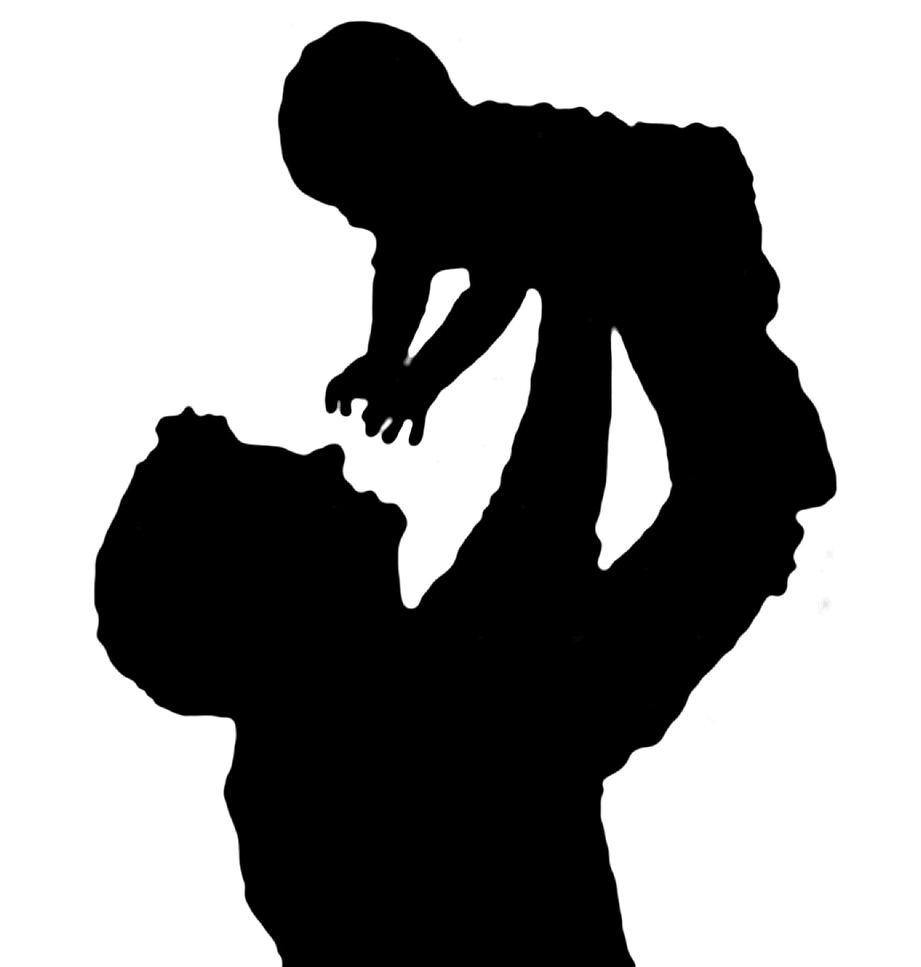 Silhouette of a father holding his child | Baby silhouette ...