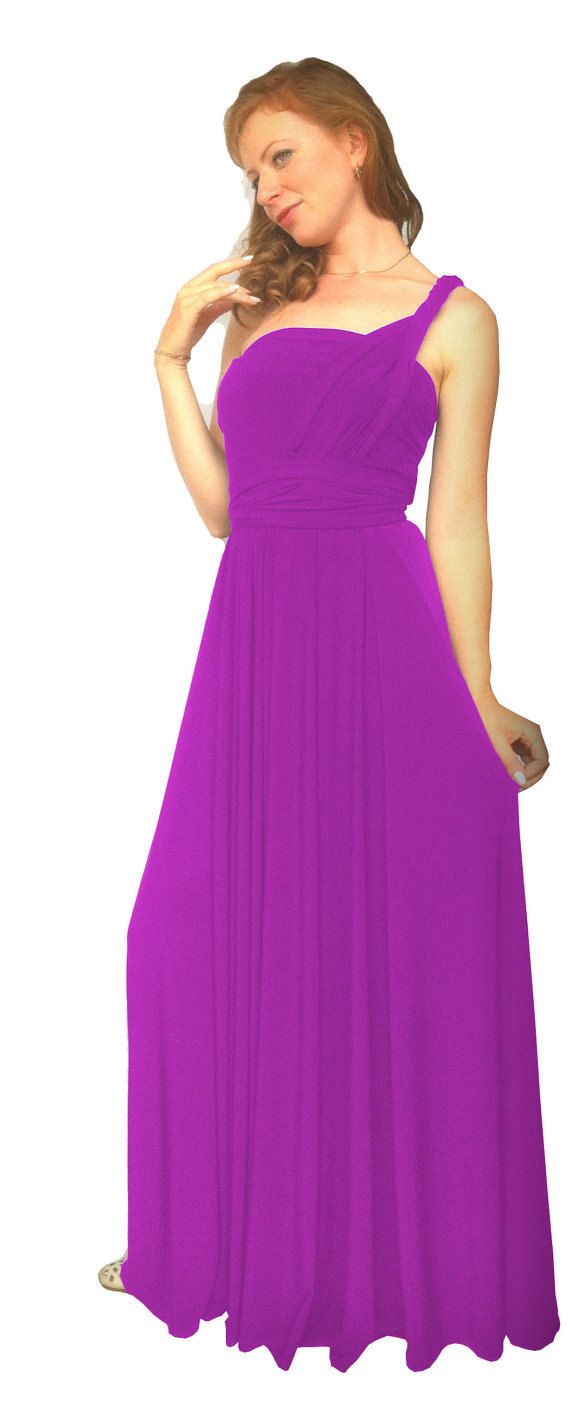 Convertible/Infinity Dress in magenta color floor length with long ...