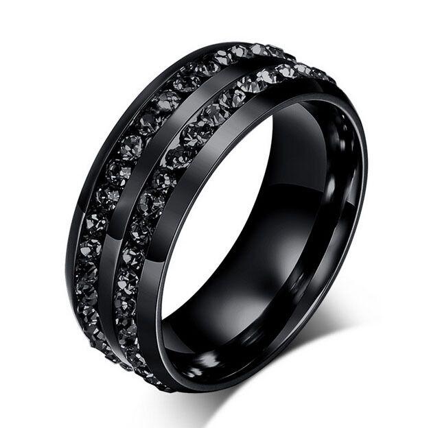 공장 가격 블랙 총 컬러 크리스탈 반지 남성 스테인레스 스틸 웨딩 링 빈티지 보석