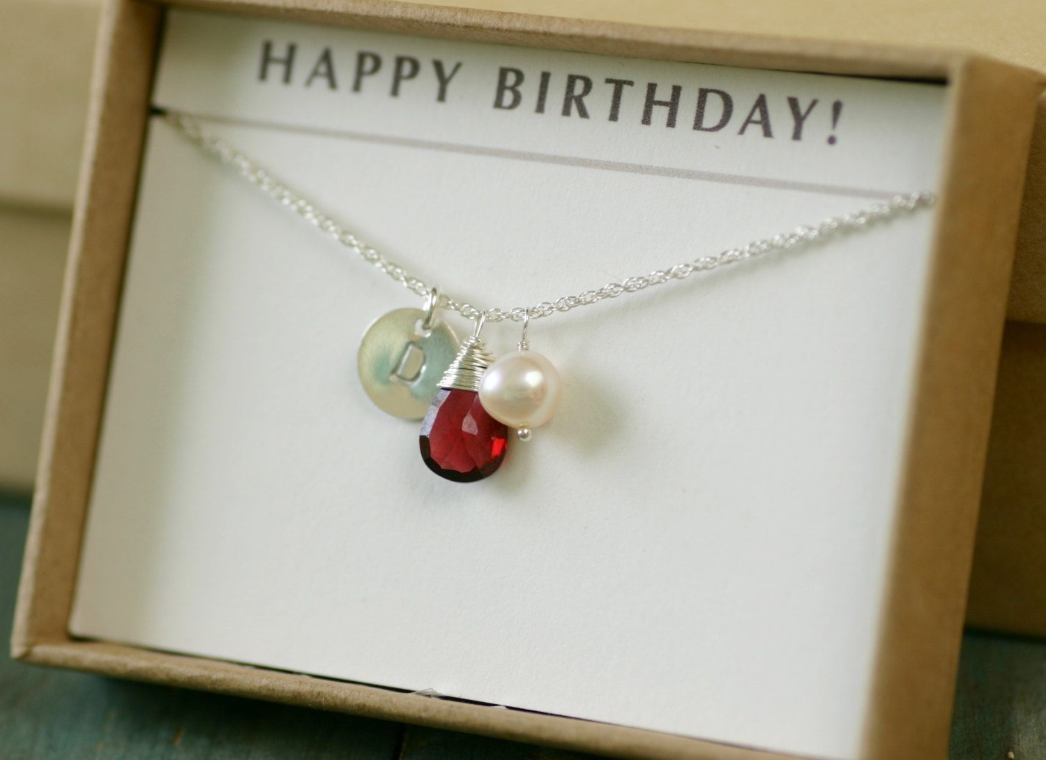 Personalized Garnet Necklace For Her January Birthstone