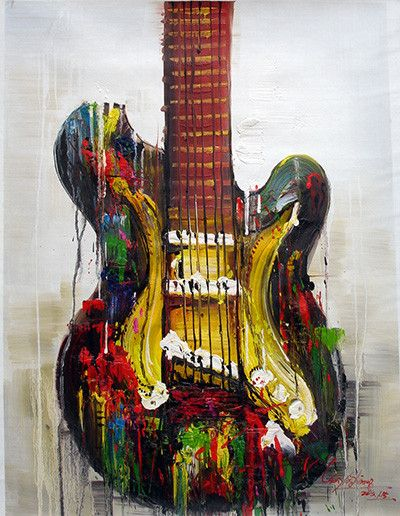 abstract guitar painting guitar no 2 abstract painting guitars in 2019 guitar art art. Black Bedroom Furniture Sets. Home Design Ideas