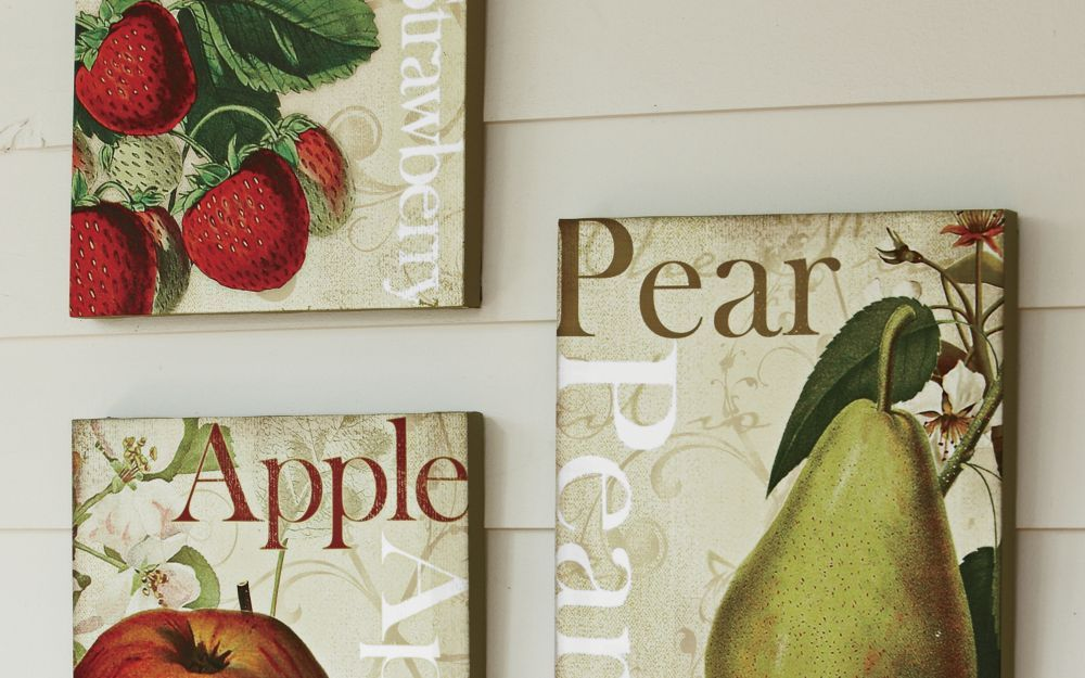 Set Of 3 Canvas Fruit Prints From Through The Country Door Cuadros
