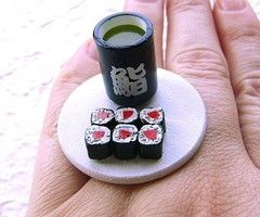 """because nothing says """"will you marry me?"""" like a ring that looks like sushi and green tea."""