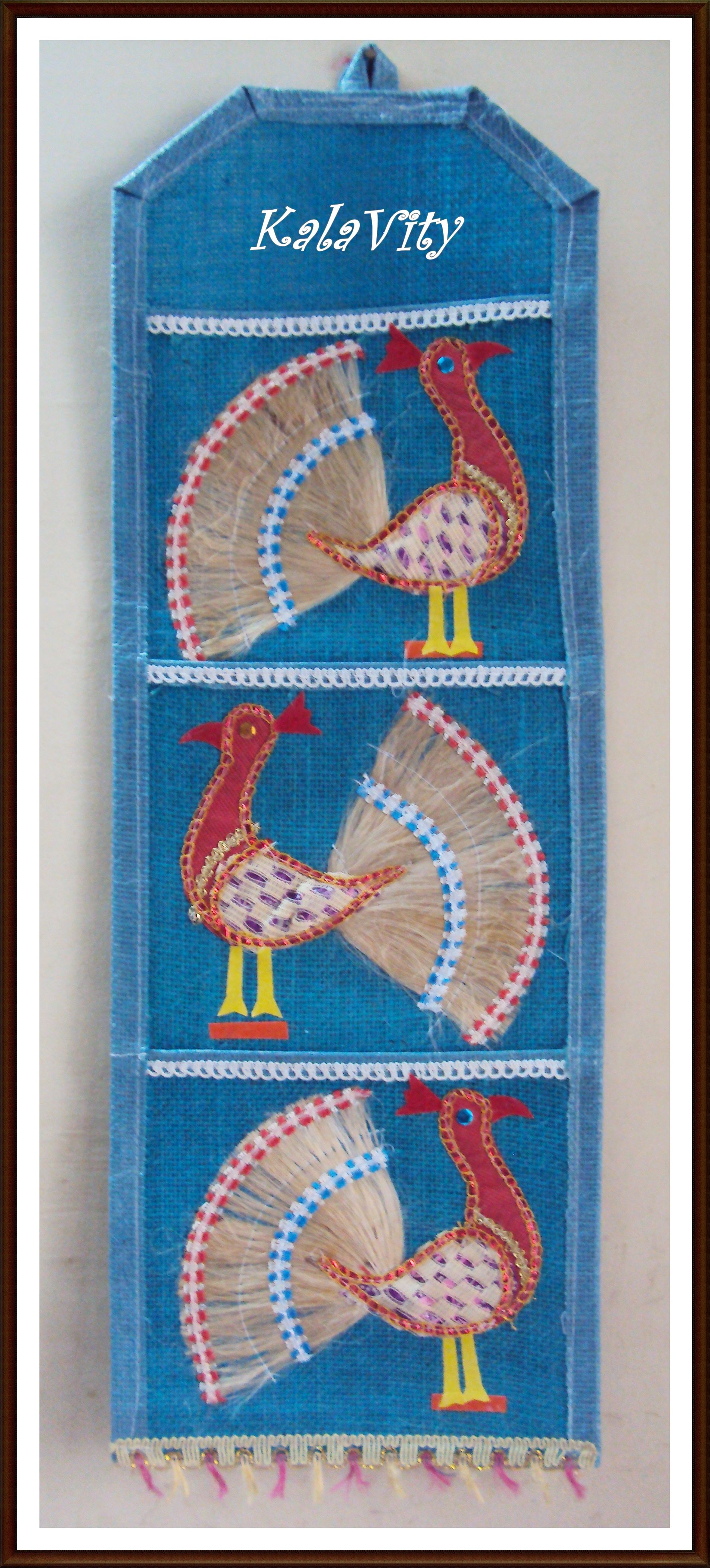 Jute Mail Holder with peacock