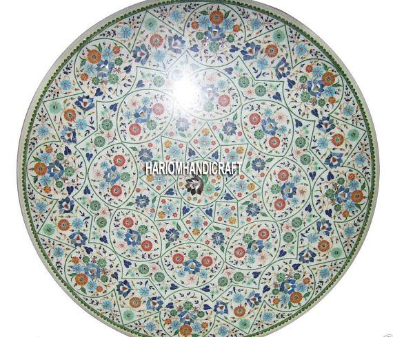 36 white marble restaurant dining table top multi mosaic inlay floral arts decor h3213 - Marble Restaurant Decor