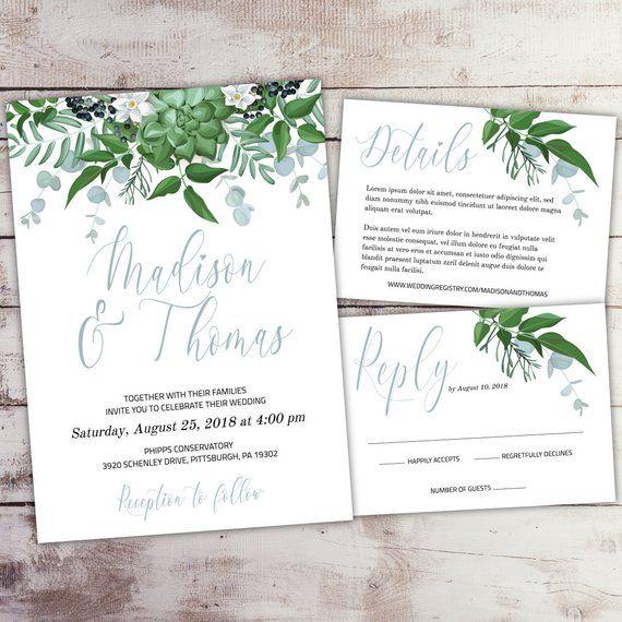 Cheap Print Your Own Wedding Invitations: Self-Edit Template Greenery Wedding Invitation Set