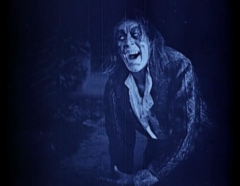 """Dr. Jekyll and Mr. Hyde"" (1920) -- Screenshot of Mr. Hyde (John Barrymore) in all his evil, blue-tinted glory."