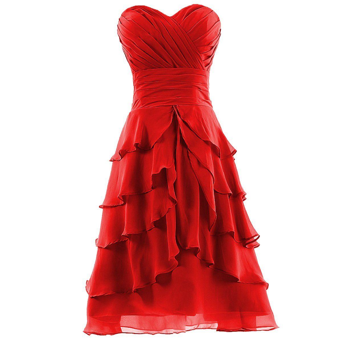 Dresstells womenus sweetheart kneelength chiffon short bridesmaid