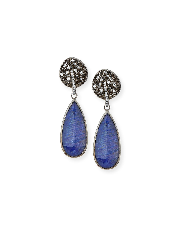 Botanical Leaf Lapis & Diamond Drop Earrings, black - Michael Aram ...