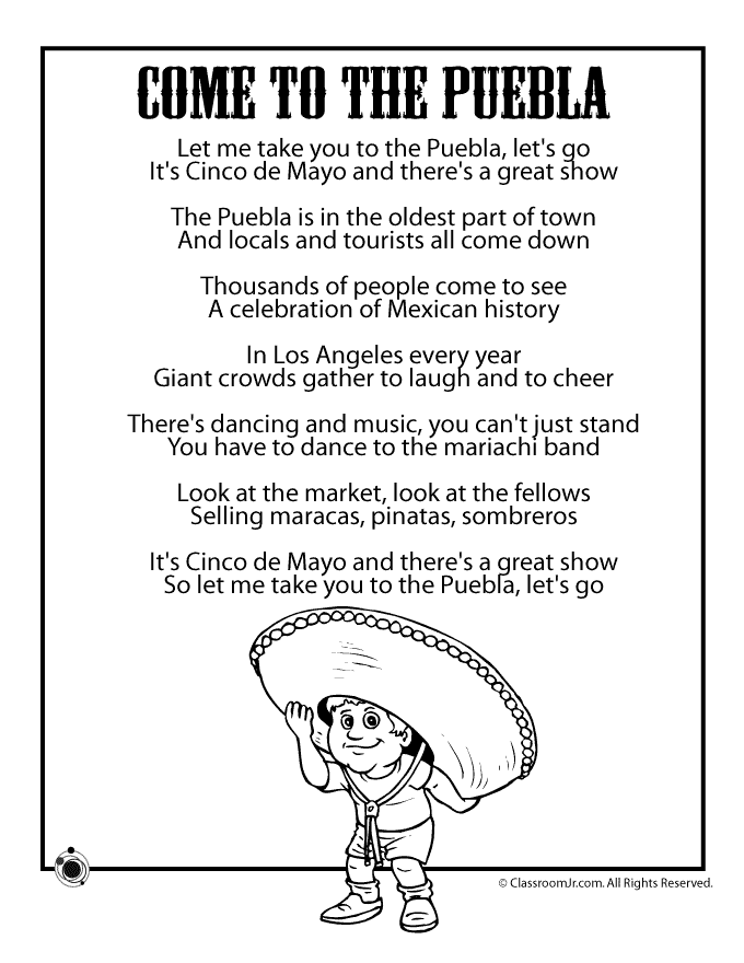 Cinco de Mayo Kids Poems & Coloring Pages | Cinco de Mayo, De mayo ...