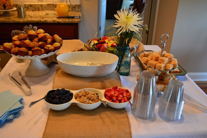 breakfast bridal shower yogurt bar mini muffins rice krispies fruit