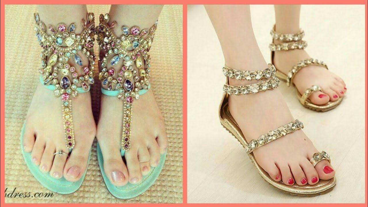 6449854c09ed Beautiful Ladies Flat Sandals Collection 2018 - Latest Flat Sandals for  Girls https