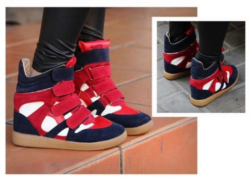 Sportive Low Ankle Boots - Red Color Block & Velcro Design Short Boots For Women