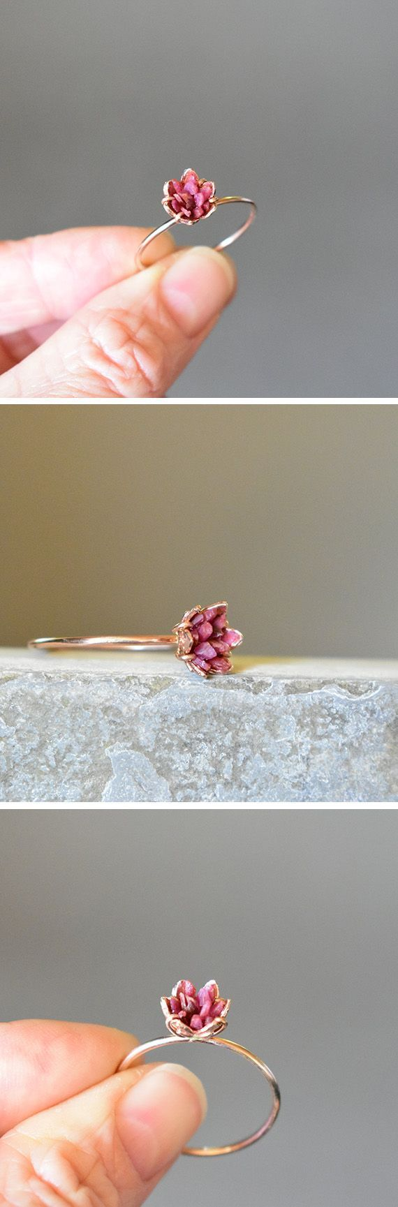 Rough Ruby Ring, Rose Gold and Ruby Ring, 40th Wedding Anniversary Theme Gifts, Ruby Birthstone Jewelry, July Gemstone Lotus Flower Ring