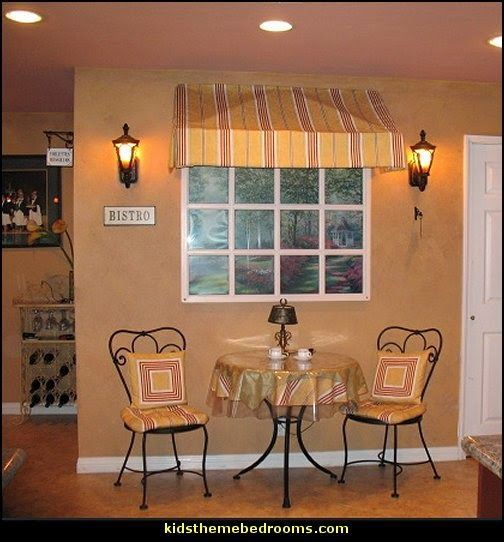 cafe style bistro decorating ideas-faux window decorating idea - would be  cute in a kitchen