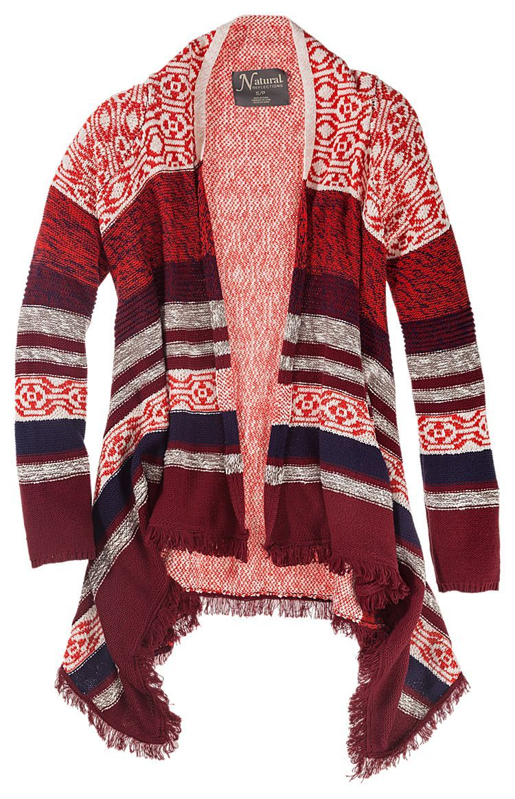 Natural Reflections Fringed Open Front Cardigan for Ladies | Bass ...