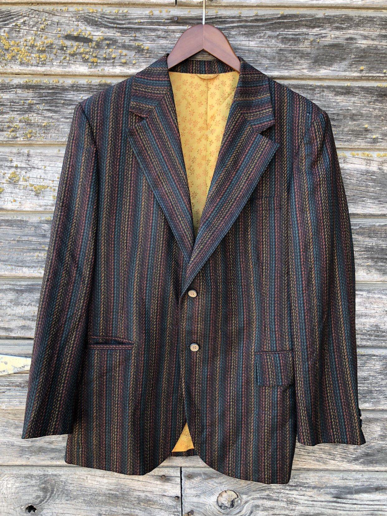 Vintage striped men's jacket orange black mustard yellow