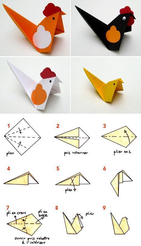 origami pliage papier poule cocotte f tes origami. Black Bedroom Furniture Sets. Home Design Ideas