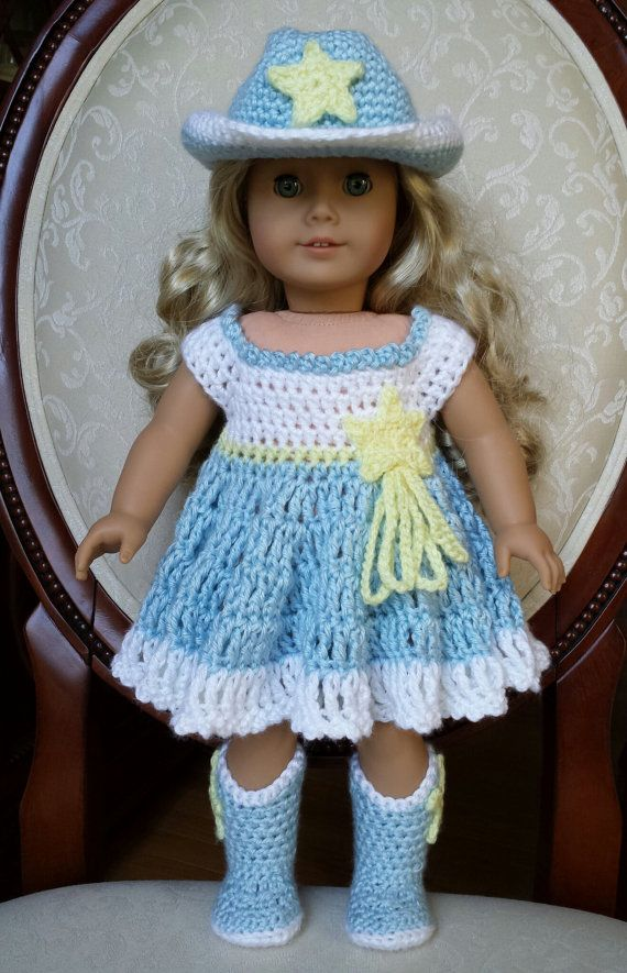 Crocheted American Girl 18 Doll Cowgirl Western Cowboy Dress Outfit