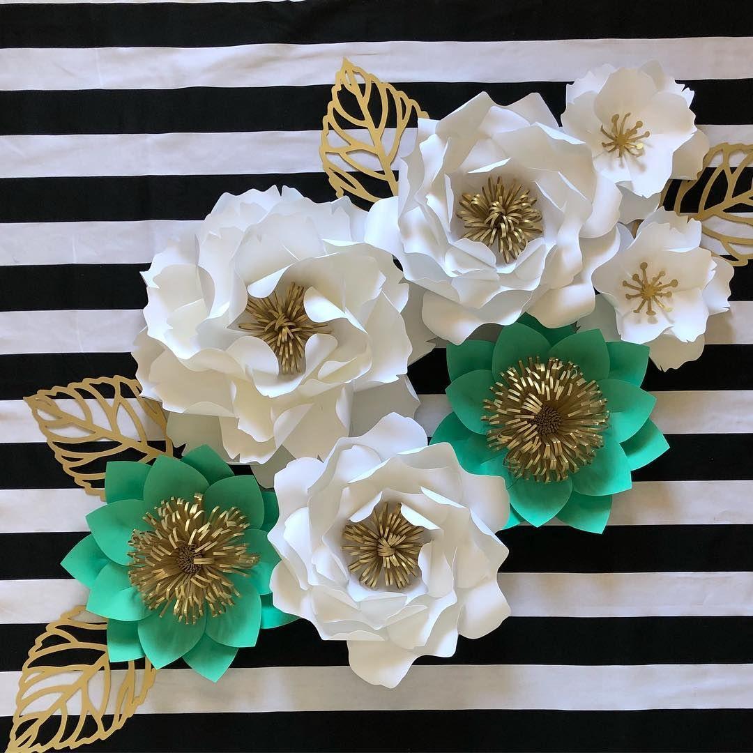 White Mint Green Gold Paper Flower Decor Handmade Flowers