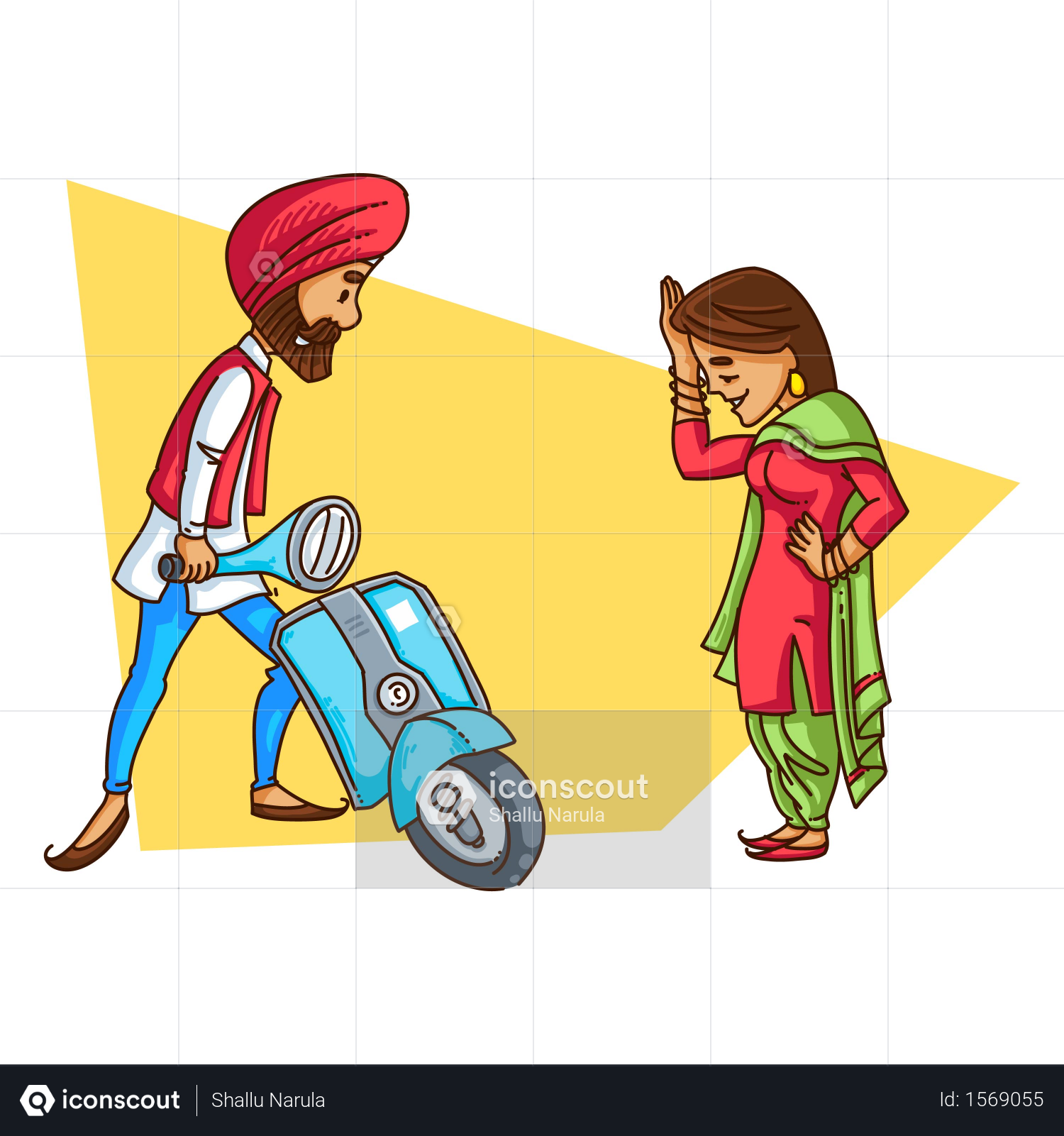 Premium Punjabi Sardar Repairing His Scooter While Traveling With His Wife Illustration Download In Png Vector Format Illustration People Illustration Truck Art