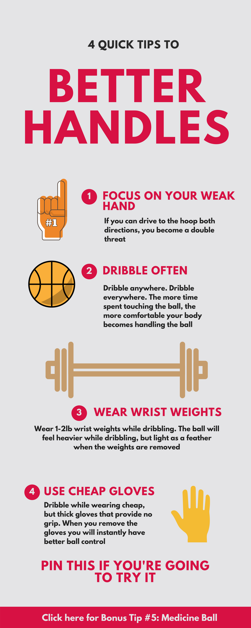 Quick tips to better handles. Don't forget to click on Bonus Tip # 5! Basketball tips, basketball drills, nba tips, basketball motivation, basketball tricks, basketball dribbling drills, ball handling drills, basketball shooting drills, basketball exercises, drills for basketball, basketball passing drills, basketball defense drills, basketball warm up drills, girls basketball, boys basketball, youth basketball, adult basketball, high school basketball