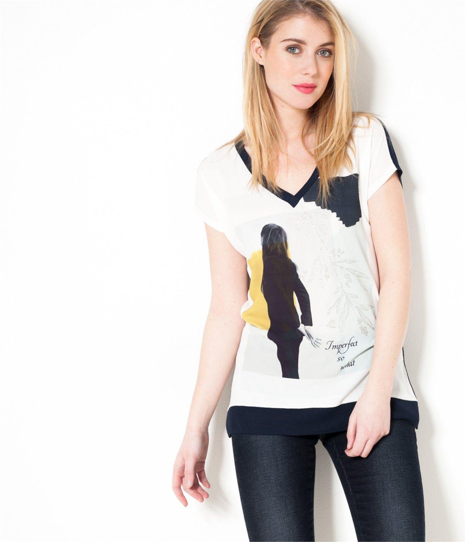 39d7790d578 Vente T-shirt femme imprimé bi-matière Marine TS - Tee shirt Camaieu.  Laissez-vous séduire par ce t-shirt femme à la forme loose !
