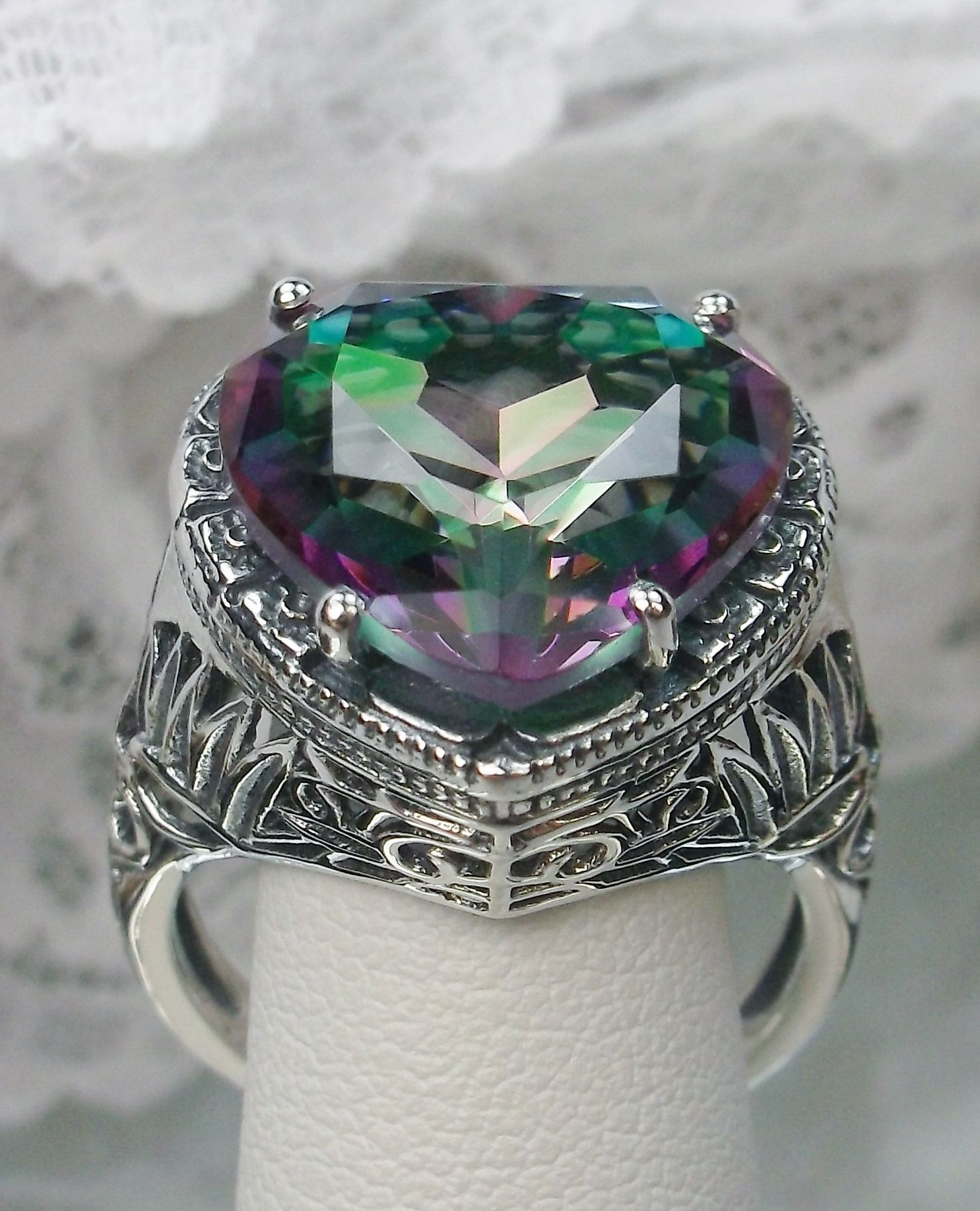 10ct *Mystic Topaz* Sterling Silver Gothic Heart Filigree Ring {Made To Order}